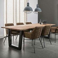 Design Esstisch aus Akazie Massivholz Edelstahl
