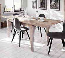 Design Esstisch aus Eiche Massivholz weiß geölt