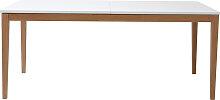 Design-Esstisch ausziehbar Weiß Füße Holz