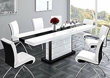 Design Esstisch HE-555 Weiß - Schwarz Hochglanz