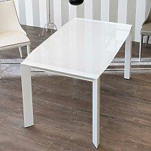 Design Esstisch mit weißer Glasplatte ausziehbar