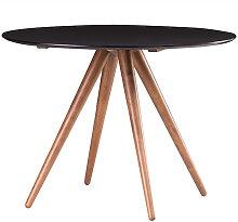 Design-Esstisch rund Nussbaum und Schwarz D106