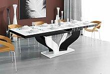 Design Esstisch Tisch HEB-111 Weiß/Schwarz