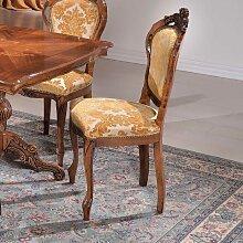Design Esszimmerstuhl in Goldfarben gemustert Barock Look