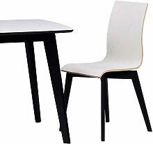 Design Esszimmerstuhl in Schwarz Weiß Holzbeine