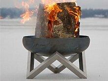 Design-Feuerschale / Feuerkorb aus massivem Stahl