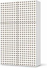 Design-Folie für IKEA Besta Schrank Hochkant 4 Türen (2+2) | Möbeldeko Klebetapete Folie Aufkleber Möbel überkleben | Wohnen und Dekorieren Esszimmer-Dekoration Wohnidee | Muster Ornament Mono Dots - Braun