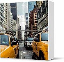 Design-Folie für IKEA Besta Schrank Quadratisch 4 Türen | Möbeldeko Klebetapete Folie Aufkleber Möbel überkleben | Wohnen und Dekorieren Esszimmer-Dekoration Wohnidee | Design Motiv Yellow Cab