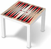 Design-Folie für IKEA Lack Tisch 55x55 cm | Baby-zimmer Möbeltattoo Bedruckte Klebe-Folie | Ideen für Erlebnisraum Kinderzimmertapete | Kids Kinder Spieltisch Backgammon Schwarz/Ro