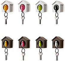 DESIGN FREUNDE Schlüsselhalter Schlüsselkasten Schlüssel Schlüsselhänger Vogelhäusschen Gartendeko Gartenhäusschen Gartenschmuck Gartenhaus Gartenschlüssel Schlüsselhalter (Braun Blau)
