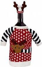 DESIGN FREUNDE Weihnachtliche Weinflaschendekoration Kleiner Elch Weihnachten Weihnachtsdeko Dekoration Weihnachtsgeschenke Weinverschluss Weindeko