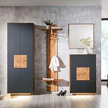 Design Garderoben Set in Anthrazit Wildeiche