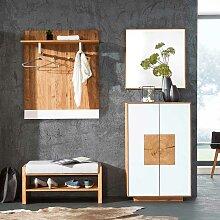 Design Garderoben Set in Weiß Wildeiche