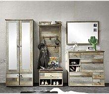 Design Garderobenmöbel in Grau Treibholz Dekor Shabby Chic (5-teilig)