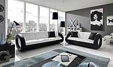 Design Garnitur 2tlg. weiß schwarz
