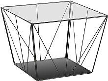 Design Glastisch mit Draht-Gestell 60 cm breit