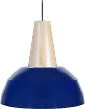 Design-Hängeleuchte Holz und Blau PULSE