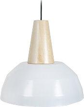 Design-Hängeleuchte Holz und Weiß PULSE