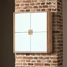 Design Hängeschrank mit 4 Türen Weiß mit Eiche