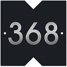 Design Hausnummernschild mit Folienhausnummer und ausgeschnittenen Dreiecken (RAL7016 (Anthrazit)