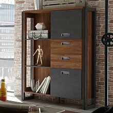 Design Highboard in Eiche dunkel Schiefer Grau Loft
