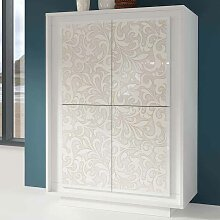 Design Highboard mit Floral Muster Weiß