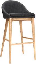 Design-Hochstuhl 75 cm Holz Stoff Anthrazitgrau