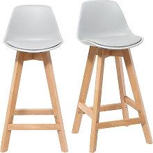 Design-Hocker Hellgrau und Holz 65 cm 2er-Set MINI