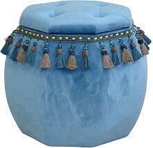 Design Hocker mit Stauraum Blau Samt