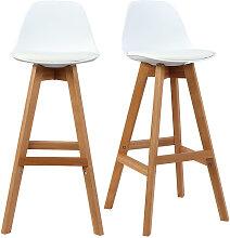 Design-Hocker Weiß und Holz 65 cm 2er-Set MINI