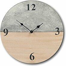 Design Holz Uhr Bürouhr Wanduhr Küchenuhr Antik Vintage Shabby Retro Look 30 cm