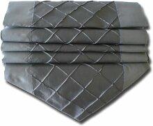 Design Kariert grau silber Tischläufer Tischdecke für Küche Wohnzimmer Thai Silk Abmessungen 200 cm x 30 cm