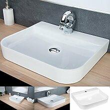 DESIGN Keramik Eckwaschbecken Aufsatzwaschbecken Waschtisch Hängewaschbecken Bad KR43
