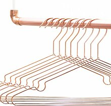 Design Kleiderbügel in Kupfer / Rosegold aus sehr stabilem Draht – 8 Stück