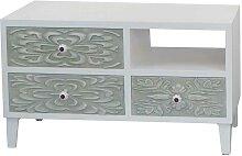 Design Kommode in Weiß und Grün Blumenmustern