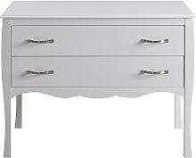 Design-Kommode Weiß lackiert 2 Schubladen MARGOT