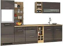 Design Küchenblock in Grau hochglänzend 300 cm
