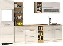 Design Küchenblock in Weiß Hochglanz 300 cm