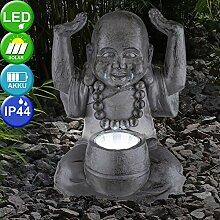 Design LED Außen Leuchte SOLAR Buddha Skulptur