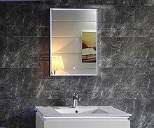 Design LED-Beleuchtung Badspiegel GS113 Lichtspiegel Wandspiegel mit Touch-Schalter 50 x 70cm Tageslichtweiß IP44