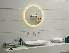 Design LED-Beleuchtung Badspiegel Wandspiegel Lichtspiegel GS047N rund 60cm (warmweiß)