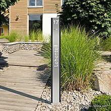 "Design LED Klingelstele Klingelsäule ""Pylon"" mit Schriftzug + Hausnummer"