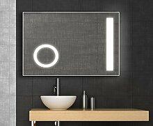 Design LED Spiegel mit integriertem Kosmetikspiegel, 60x80 cm, Badspiegel, kaltweiß