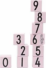 Design Letters - AJ Wooden Number Cubes (10er-Set), pink