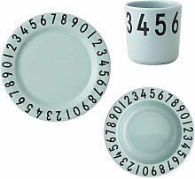 Design Letters - Melamingeschirr-Set The Numbers, grün