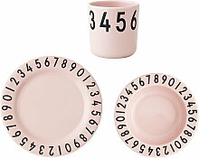 Design Letters - Melamingeschirr-Set The Numbers, rosa