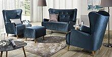 Design Luxus Lounge Sofa Landschaft Couch Polster Garnitur Stoff Blau SL26 NEU!