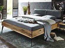 Design Massivholzbett Lederkopfteil 140x200 cm