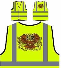 Design mit Adler und Band Neuheit Personalisierte High Visibility Gelbe Sicherheitsjacke Weste nn82v