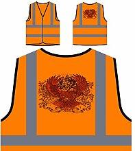 Design mit Adler und Band Neuheit Personalisierte High Visibility Orange Sicherheitsjacke Weste nn82vo